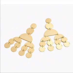 NWT - Jcrew Gold circle chandelier earrings